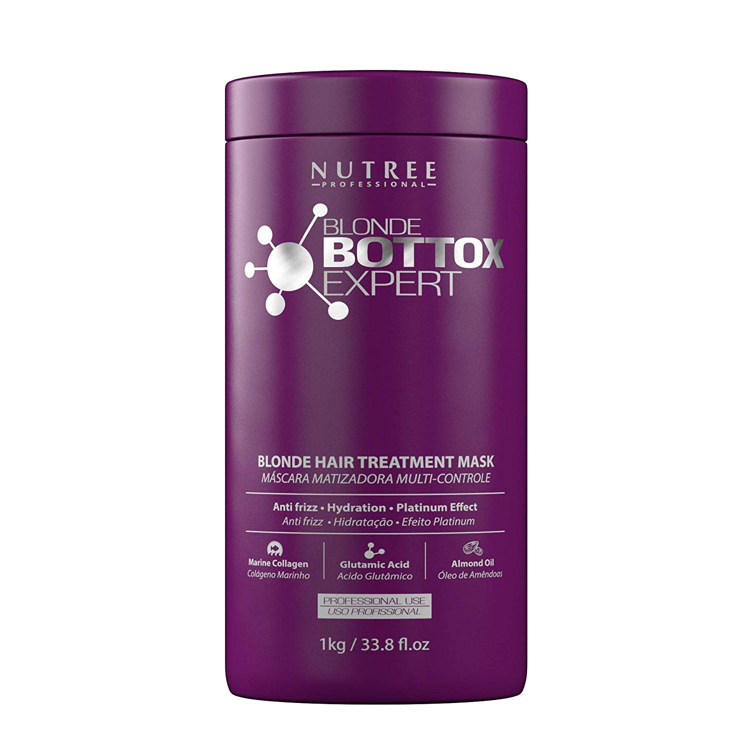 Blonde Botox Expert Purple Hair Treatment 33.8 fl.oz - Best for Blonde Hair - Anti-Brass, Eliminate Yellows, Toning Effect - Promotes the Smoothing of ...