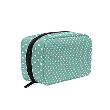 a5f278672ce3 Amazon.com   OREZI Blue Polka Dot Portable Travel Mini Makeup Bag ...