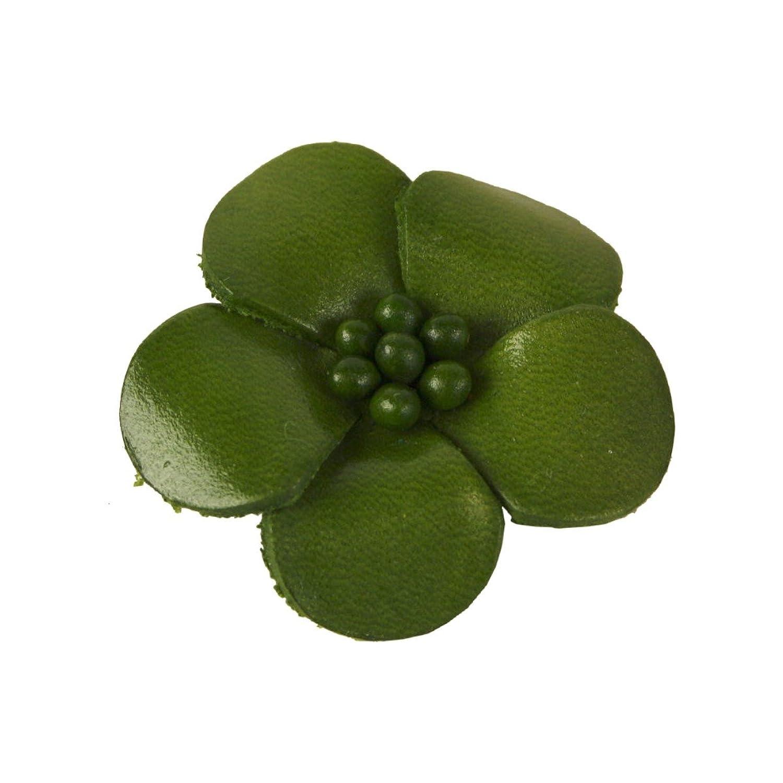 Veilchen mit Perlen Anstecker aus Leder oliv - Durchmesser: ca 4 cm