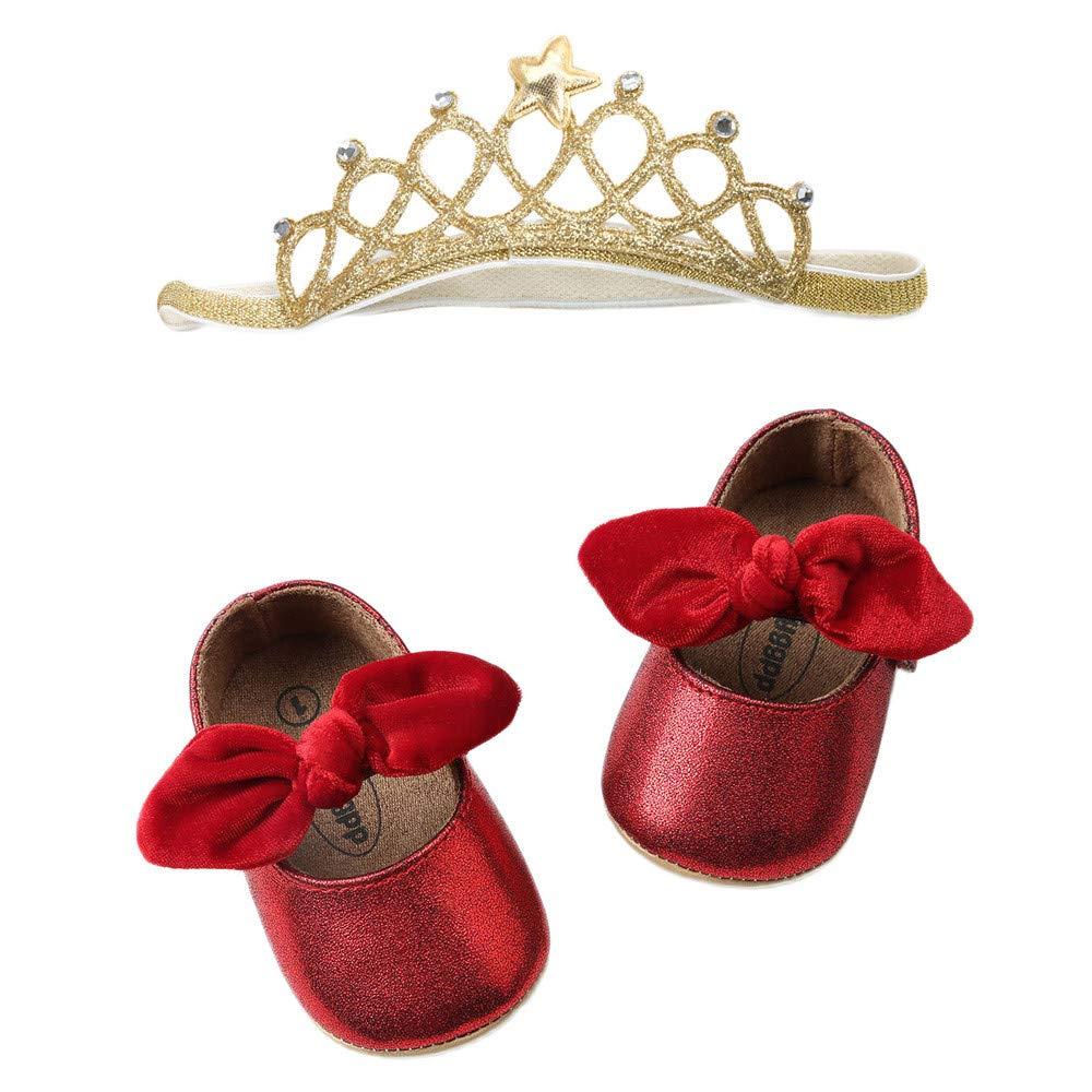Robemon✬Autumn Hiver Paillettes Cuir Tressées Semelle Molle Noeud Papillon Mignon Princesse Casual Bambin Chaussures+Sangle Cheveux Couronne Premiers Pas Bébé Fille Slip-on Shoes 0-24Mois