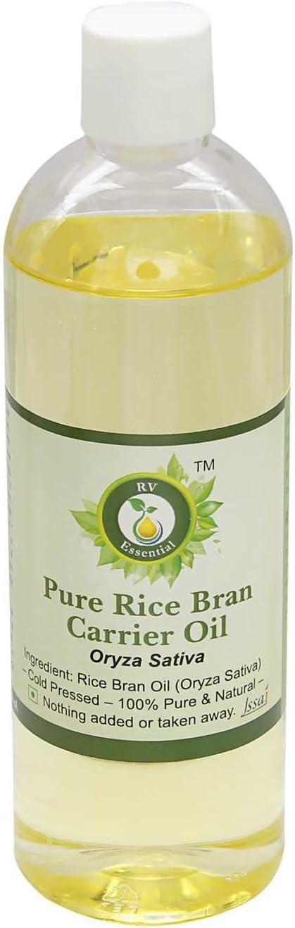 Salvado de arroz Aceite | Oryza sativa | Para piel | Para pelo | Para masaje | Sin refinar | 100% natural puro | Prensado en frío | Rice Bran Oil |100ml | 3.38oz By R V Essential