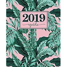 Agenda 2019: 19x23cm : Agenda 2019 semainier : feuilles tropicales roses et vertes 6132