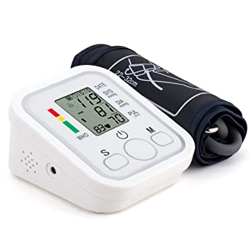 Tensiómetro de Brazo Detección del Pulso Arrítmico Eléctrico Monitor Digital de Presión Arterial LCD Pantalla con