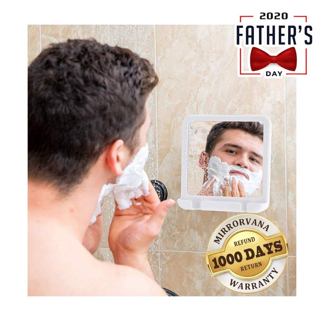 2019 Fogless Shower Mirror for Fog Free Shaving with Razor Holder, Sticky Suction-Cup and Swivel, Shatterproof and Portable, 8-Inch x 7-Inch (White) : Beauty