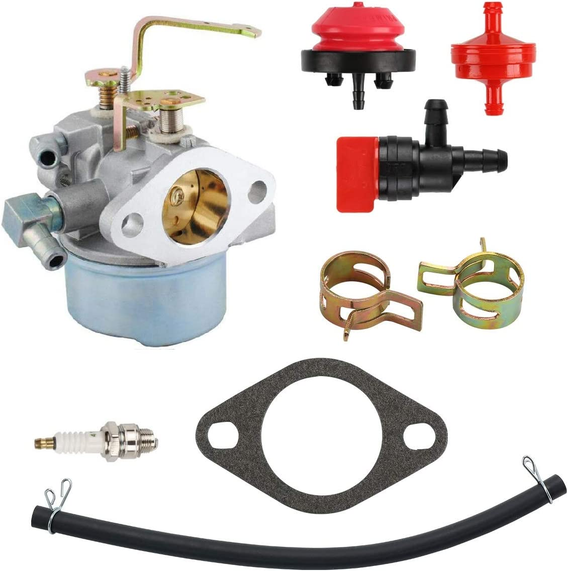 MDAIRC 640152 Carburetor for Tecumseh 640152A 640023 640051 640140 640260B HM80 HM90 HM100 8hp -10hp Tecumseh Engine Coleman PowerMate 5000 watt Generator Carb with Spark Plug kit
