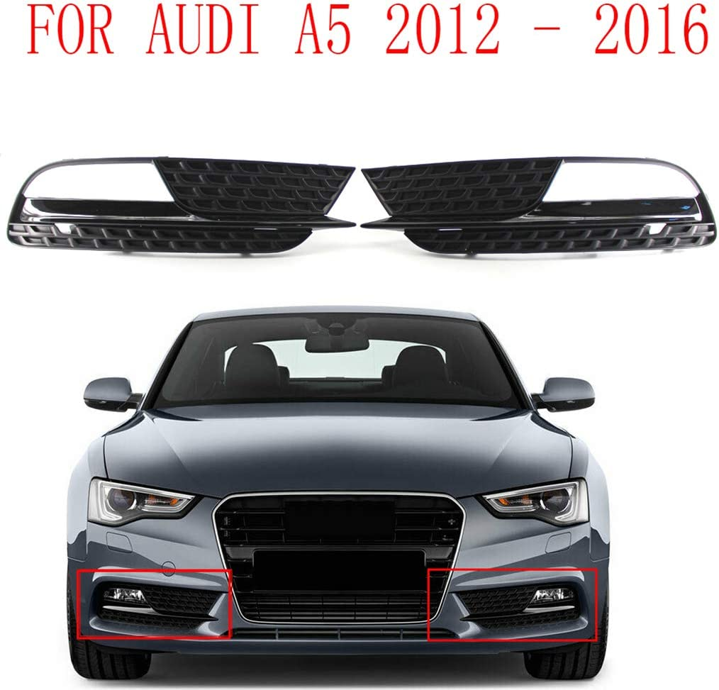 Bomcomi 1 Pair Car Left Right Fog Light Lamp Grille Grill 8T0807681H 8T0807682H Replacement for A5 2012-2016