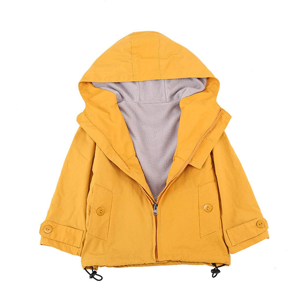 Lataw Kids Coats Baby Outerwear Children Warm Girls Boys Windproof Hooded Solid Casual Sport Winter Pullover Jackets by Lataw