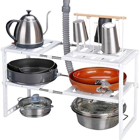 Rackaphile - Almacenaje de Cocina bajo Fregadero, Estante de Almacenamiento Extensible de 2 Niveles de Acero Inoxidable para baño, Cocina, lavandería, ...