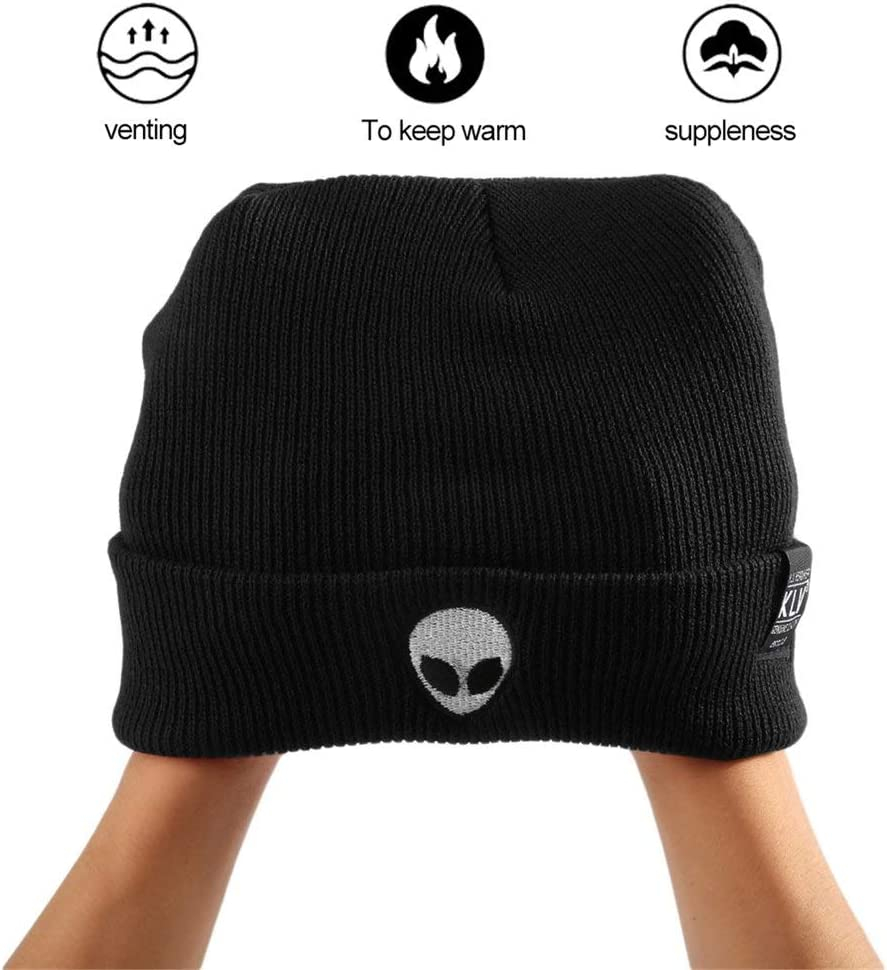 Deniseonuk Comfortable Unique Charming Winter Warm Unisex Casual Alien Head Embroidered Plain Beanie Street Knitted Hats
