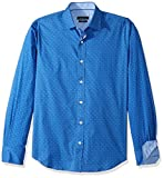 BUGATCHI Men's Cotton Blend Slim Fit Long Sleeve Shirt, Royal, M