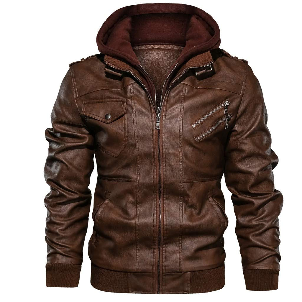 Men's Faux Leather Zip-Up Motorcycle Bomber Jacket Winter Thicken Parka Jackets Warm Hooded Military Coats Brown by SSYUNO-men tops
