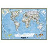 GIANT 69 1/4 x 48'' World Classic - Enlarged Plaque Mounted Wall Map with Black edge