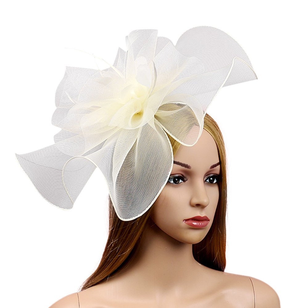 Urban CoCo Women's Elegant Flower Feather and Veil Fascinator Cocktail Party Hair Clip Hat (# 5 Beige)