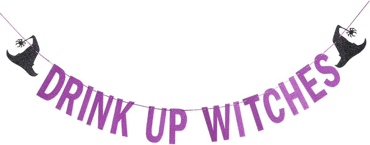 Drink Up Witches Banner Purple Glittery- Halloween Party Decorations Purple,Haunted House Decor,Halloween Party Decorations,Halloween Banner
