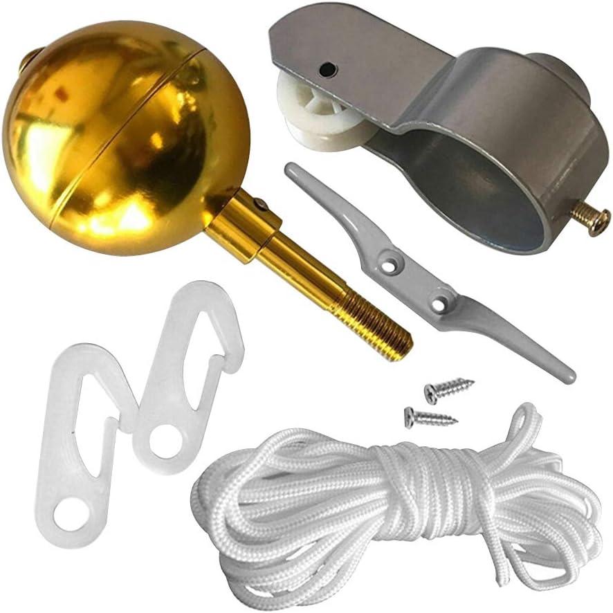 LNIMIKIY Fahnenmast Zubeh/ör Kit Outdoor Seilrolle Schrauben Garden Home Runde Form Gold Ball Cleat Clip Yard Repair Decor