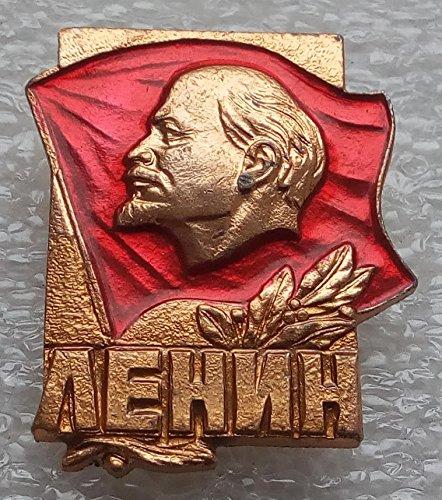 V I Lenin Red banner USSR Soviet Union Russian Communist Bolshevik Historical Political Pin Badge