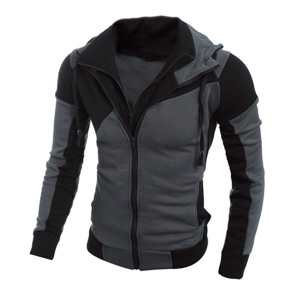 Sinfu Men's Colorblock Long Sleeve Double Zipper Hooded Jacket Fleece Hoodie Coat Black) Sinfu®