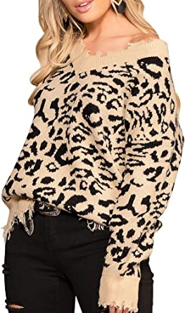 Women Ladies Sweater,Sexy Leopard Print Oversized Long Sleeve V Neck Knitted Stylish Pullover Blouse Tops