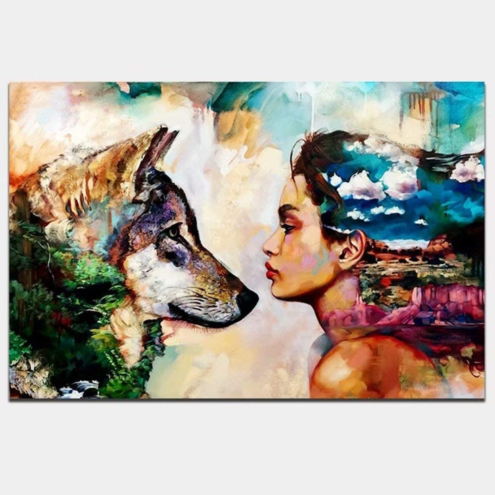 Canvas Oil Painting Wall Art Picture Hanging Poster Home Decor Girl /& Wolf