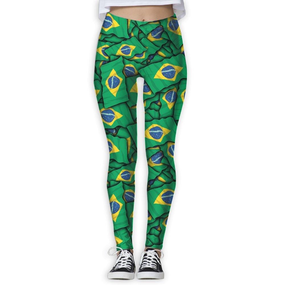 DDCYOGA Brazil Flag Pattern Women's Tummy Control Yoga Pants Fitness Yoga Sport Leggings For Girls by DDCYOGA