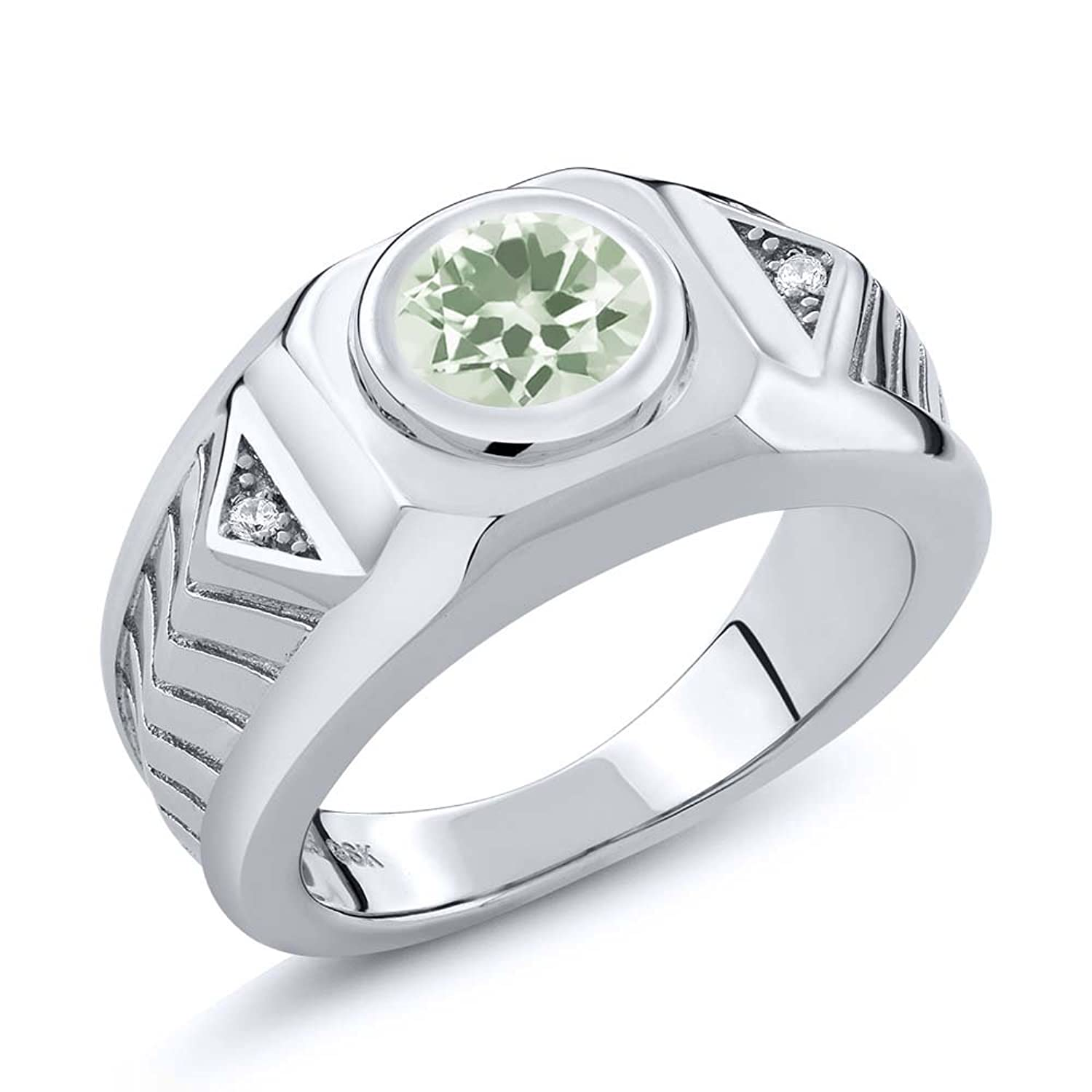1.73 Ct Round Green Amethyst 925 Sterling Silver Men's Ring
