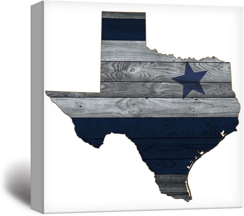 """wall26 - Dallas Cowboy Star Wood Background - Canvas Art Wall Decor - 24""""x24"""""""