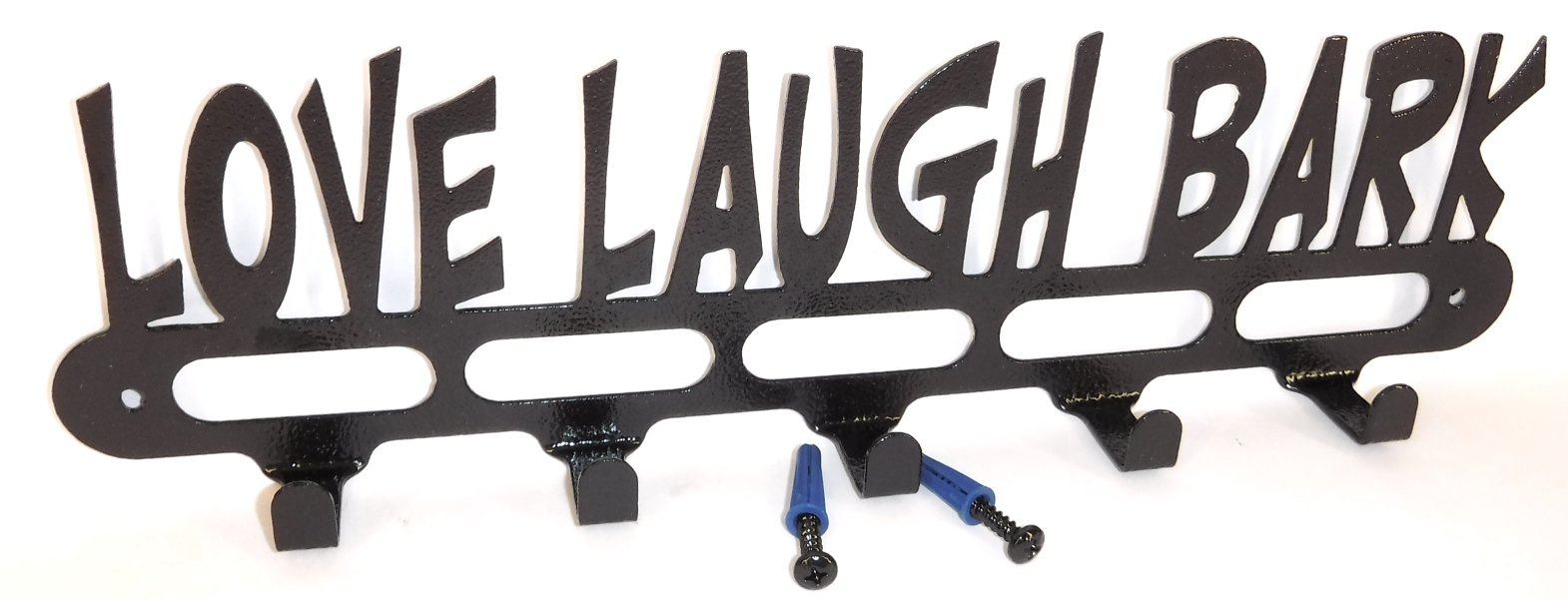 Dog Leash Wall Hook. Love Laugh Bark. Handmade in USA. 14.25 inches wide. Gloss Black Texture