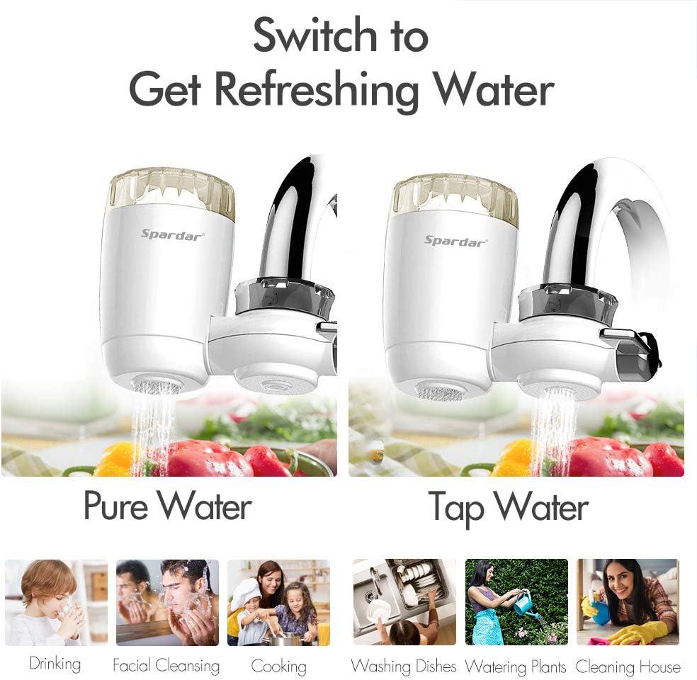 Spardar Filtro de Agua para Grifo, Sistema de Filtración de Agua con Material Ultra Absorbente, se Adapta a grifos Estándar, Fácil Instalación, no Requiere ...