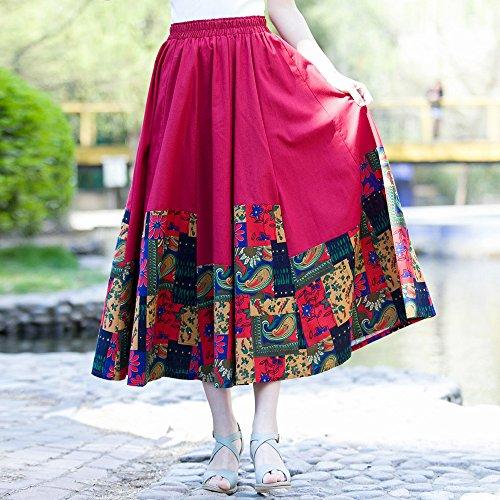 Jupe line Floral Taille De Tour Elastique Ochenta Bohemian Bordeaux Femme A aPxWwq554g