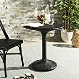 Safavieh PAT4017A Outdoor Collection Bilson Black Rattan Bistro Table