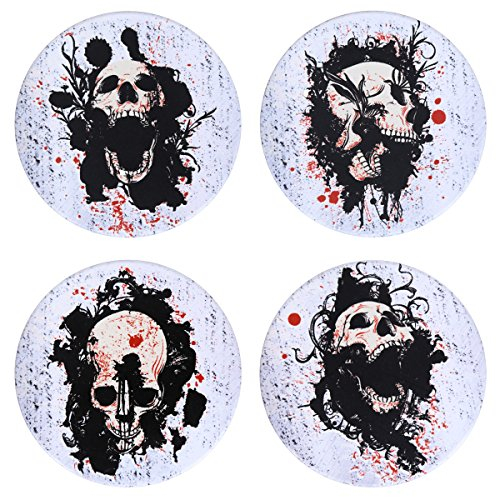 SxinHome Cool Skull Coasters for Drinks, Absorbent Ceramic Stone Coasters Set of 4,White