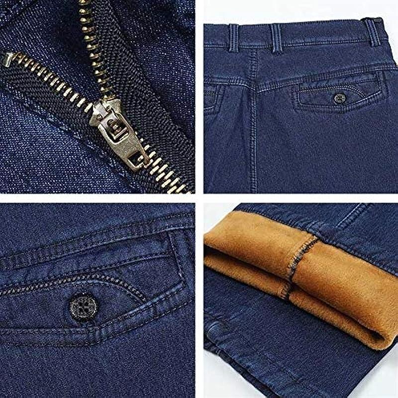 SUIWO Męskie Slim Jeans Jeans Jeans Classic Business Jeans für Męskie Herbst Winter Casual Dickes Fleece Warm Elastisch Denim Hose (Farbe: Blau, Größe: 40): Küche & Haushalt
