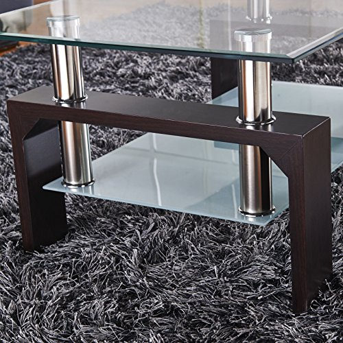 Virrea Rectangular Glass Coffee Table Shelf Wood Living Room Import It All