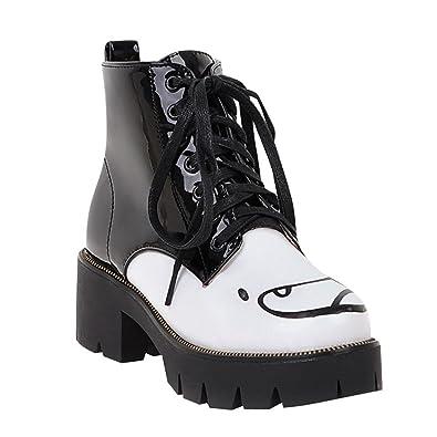 Damen Chunky heel Plateau Lackleder Ankle-Boots mit Schnürsenkel (schwarz) (34) MissSaSa V7HKhP
