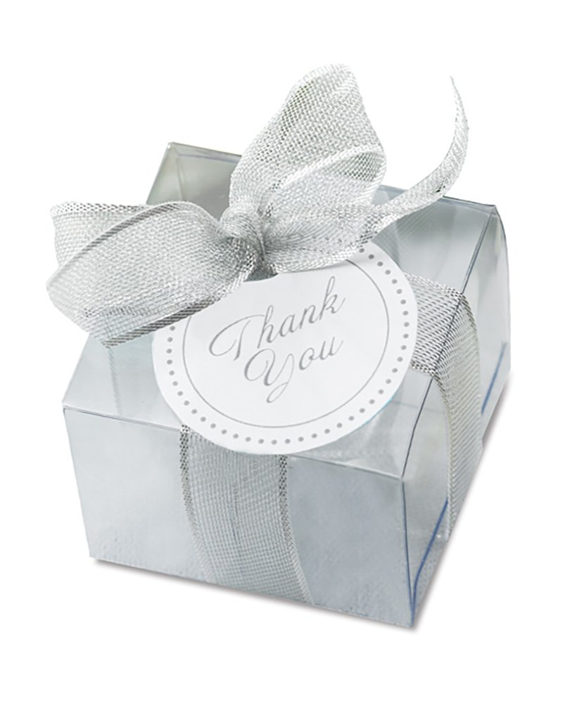 Amazon.com: Gartner Clear Wedding Favor Box Kit with Silver Tie 50 ...
