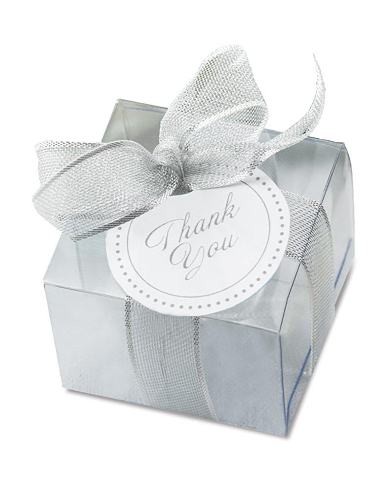 Amazon.com: Gartner Clear Wedding Favor Box Kit with Silver Tie 50 ...