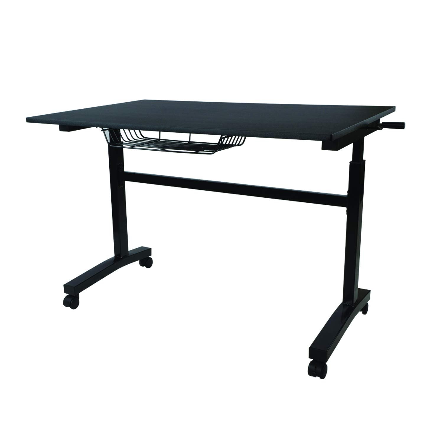Atlantic Crank Adjustable Height Desk - Sit or Stand at This Large Workspace, Heavy Gauge Steel Frame (Black, with Casters)
