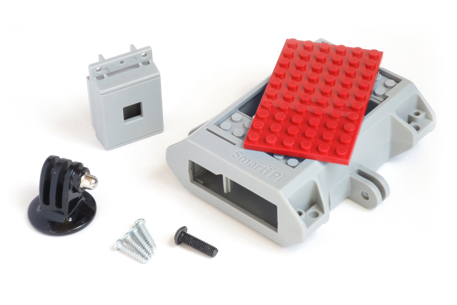 Building Block Compatible SmartiPi Raspberry Pi B+,2, 3, and Pi 3 B+ case w/Camera Case and GoPro Compatible Mount, Red