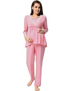 Maacie Pijama de Lactancia Premamá Embarazadas Camisón Manga Larga Tops + Pants Set 2pcs