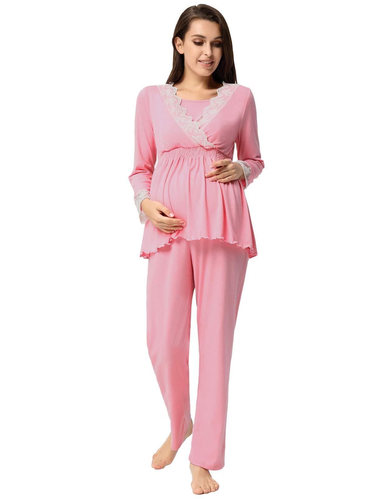 Women Soft Pajamas Set Nursing Breastfeeding V Neck Maternity Sleepwear 1030-1_S