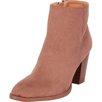 Cambridge Select Women's Pointed Toe Classic Western Stacked High Heel Ankle Bootie: Shoes