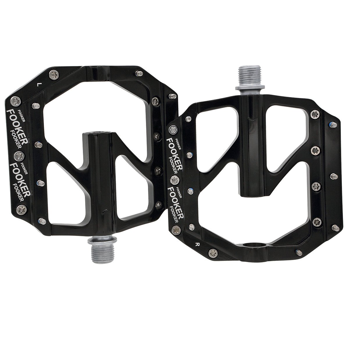 FOOKER Bike Pedals Non-Slip Aluminum Alloy MTB Mountain Bike Pedals 3 Bearing 9/16'' for Road BMX MTB Fixie Bikes by FOOKER (Image #3)