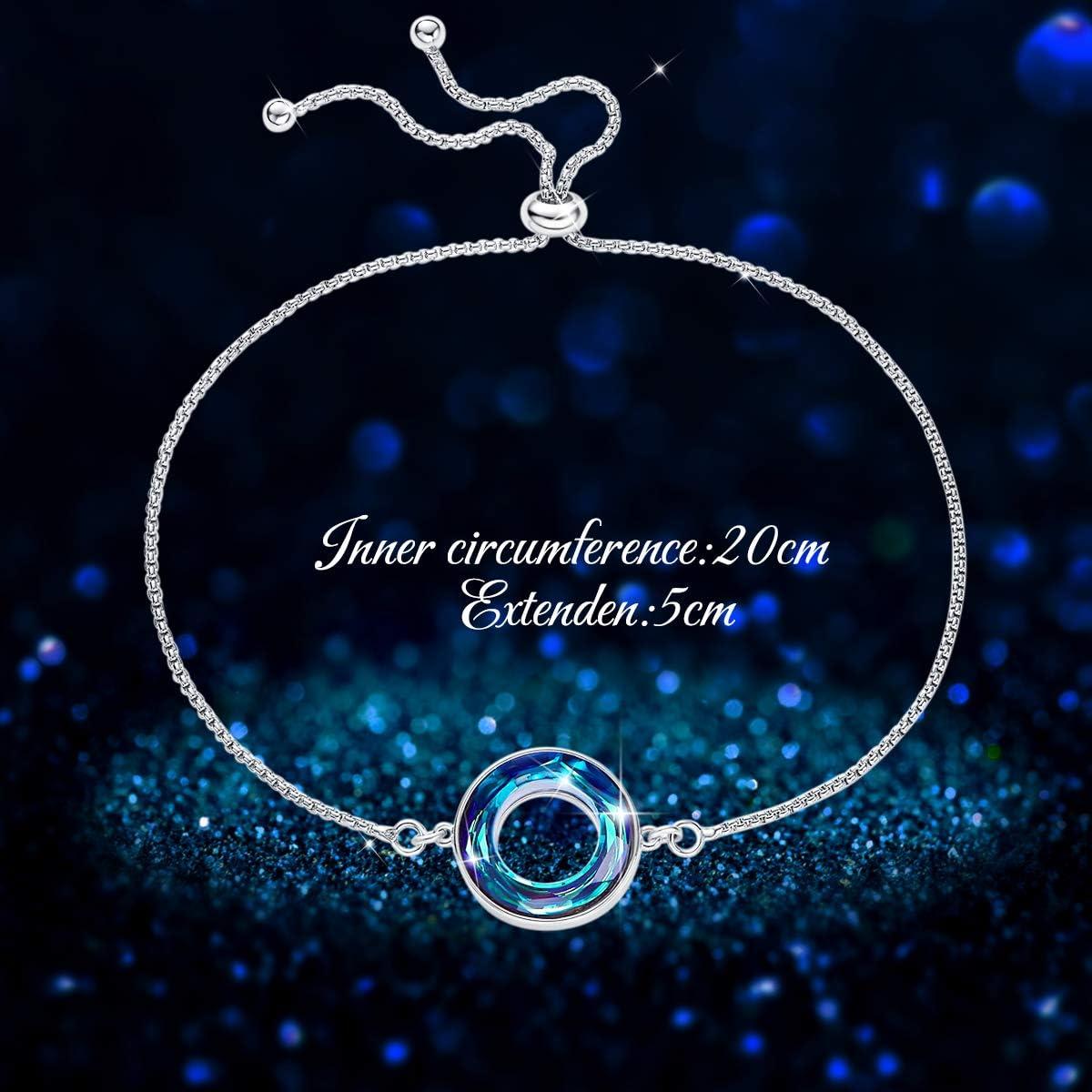 Mariage CRYSLOVE Bracelet pour Femmes Fille en Argent Sterling 925 /Étoile Lune Bracelet Star Moon Ouverture Bracelet R/églable Bijoux Bracelet,Anniversaire No/ël Cadeau