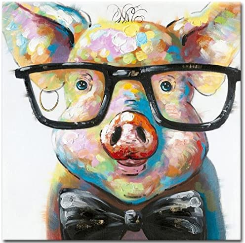 Muzagroo Art Cute Pig with Glasses Paintings for Living Room Hand Painted Paintings Stretched Ready to Hang 24x24in