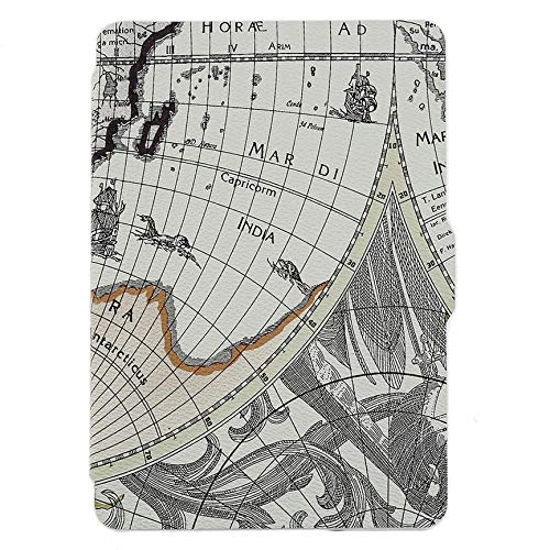 Ultra Thin Magnetic Design Case Cover PU Leather Map Pattern Full Protective Cover Suitable for Kindle Paperwhite (Difference Between Kindle E Reader And Kindle Paperwhite)