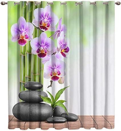 Wkjhdfgb Orchidea Di Bambu Zen Tende Per Tende Soggiorno Bagno Camera Da Letto Decorazioni Esterne Stampa Pannelli Per Tende Con Anelli Di Tenuta Tende Per Esterno 160x135cm Amazon It Casa E Cucina