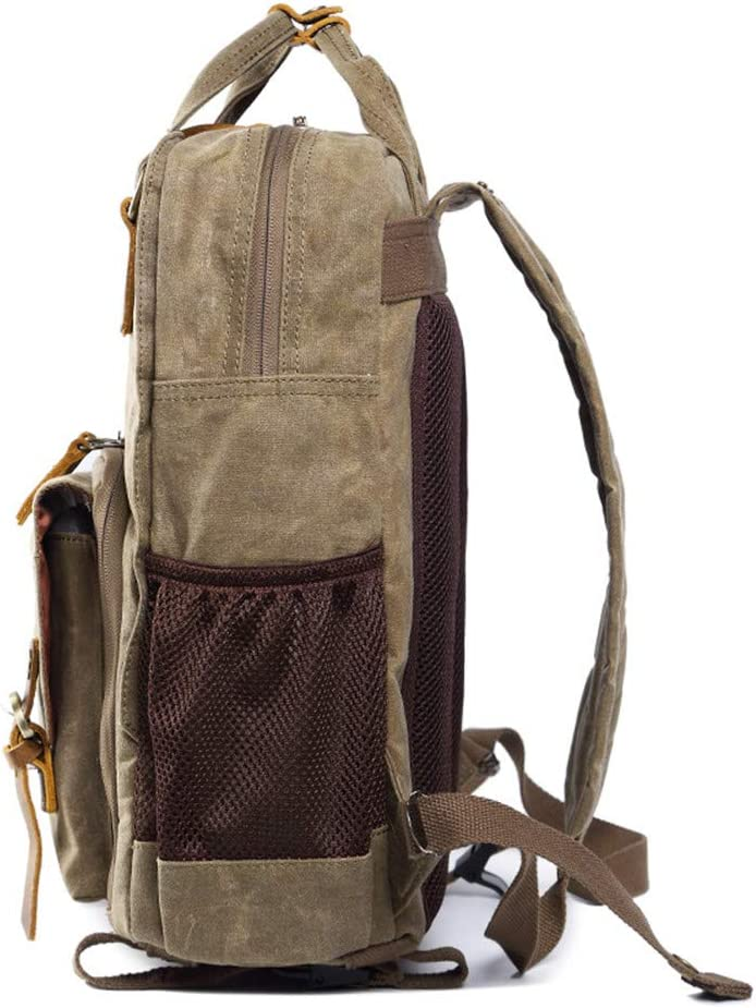 Khaki DRF Canvas Backpack for DSLR Cameras with Tripod Holder fit 15 Laptop BG18