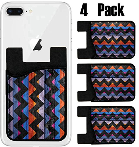 MSD Phone Card holder, sleeve/wallet for iPhone Samsung Android and all smartphones with removable microfiber screen cleaner Silicone card Caddy(4 Pack) IMAGE ID 27684911 Colorful chevron pattern text by MSD