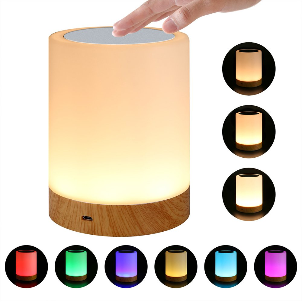 Touch Bedside Table Lamp, AVEKI Adjustable LED Color Changing Rechargeable Portable Night Light,Dimmable Touch Sensor Lamp for Kids Women Men Bedroom Living Room (Multi-Color)