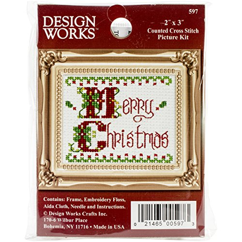 Tobin Merry Christmas Ornament Counted Cross Stich Kit, 2-Inch x - Counted Cross 2in